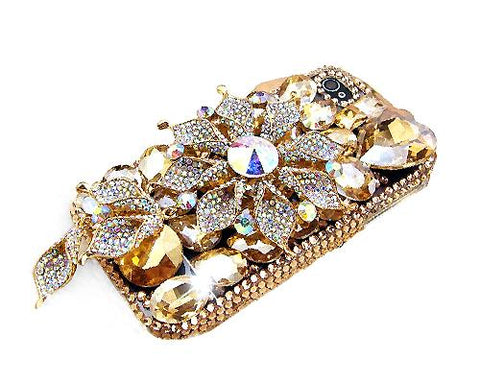 3D Stylish Rhinestone Series iPhone 5 and 5S Crystal Case - Flower