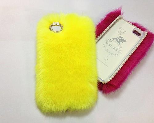 Luxury Furry Series iPhone 5 and 5S Crystal Case - Yellow