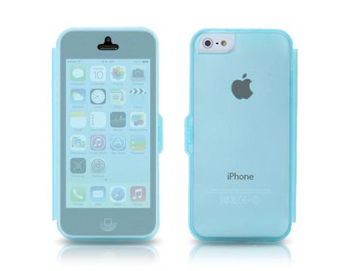 Translucent Series iPhone 5C Flip Silicone Case - Blue