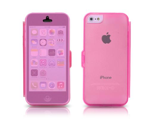 Translucent Series iPhone 5C Flip Silicone Case - Pink