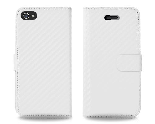 Twill Series iPhone 5 and 5S Flip Leather Case - White