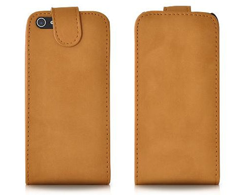 Suede Series iPhone 5 and 5S Flip Leather Case - Beige