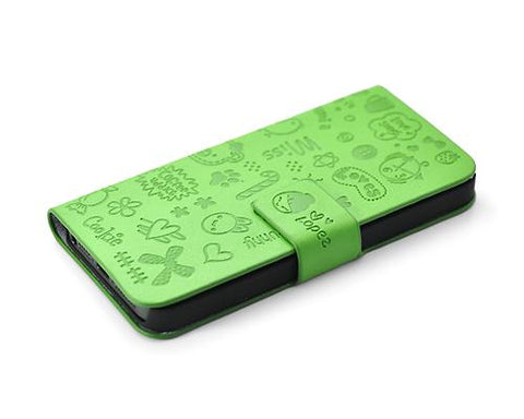 Calore Series iPhone 5 and 5S Flip Leather Case - Green