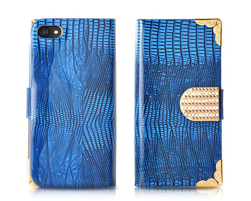 Glamour Series iPhone 5 and 5S Flip Leather Case - Blue