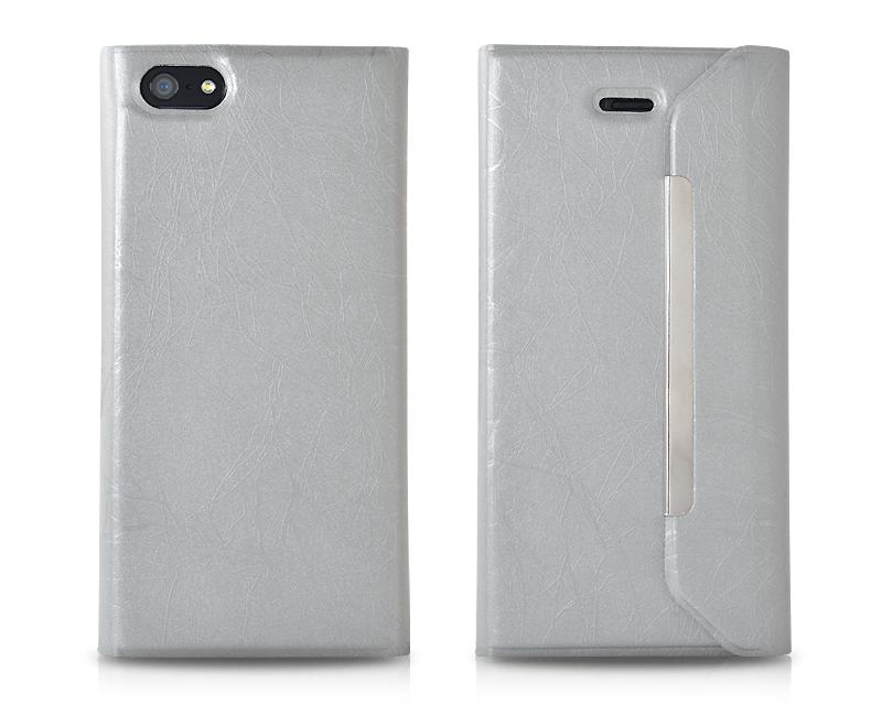 Flash Series iPhone 5 and 5S Flip Leather Case - Gray