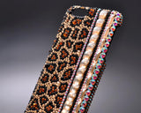 Leopardo Cubical Side Bling Swarovski Crystal iPhone 8 Plus Cases - Brown
