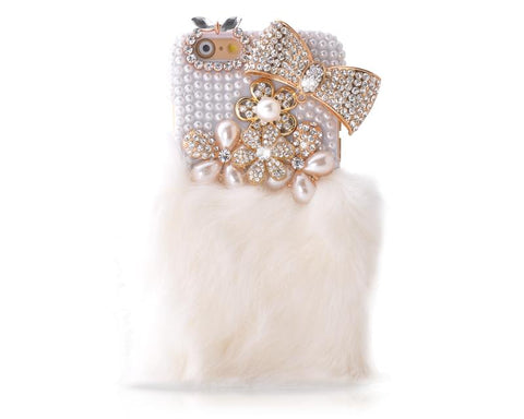 Stylish Furry Series Bling iPhone 6 and 6S Crystal Case - White