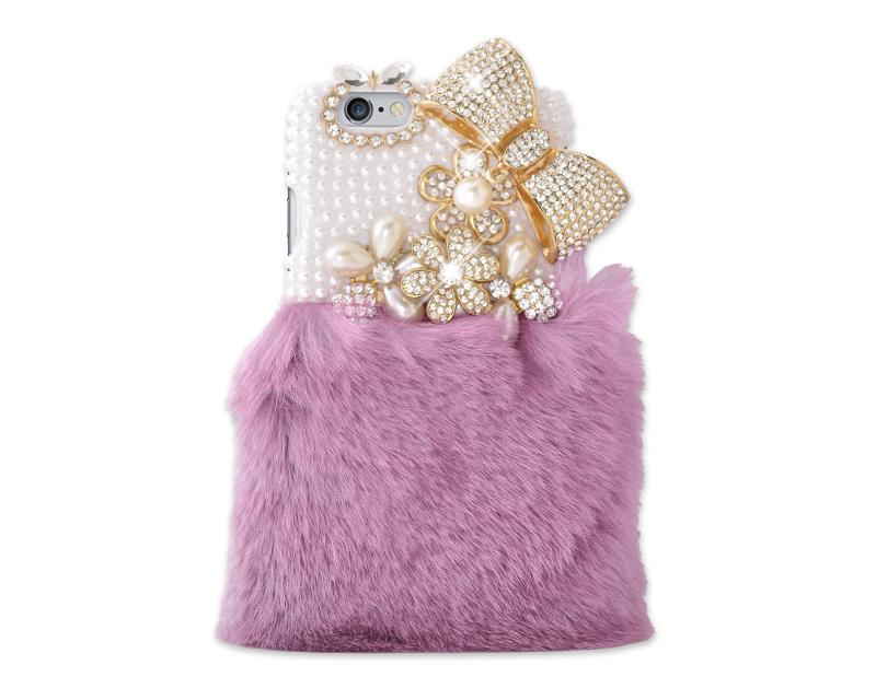 Stylish Furry Series Bling iPhone 6 and 6S Crystal Case - Pluple