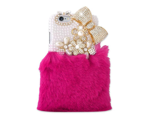 Stylish Furry Series Bling iPhone 6 Crystal Case (4.7 inches) -Magenta