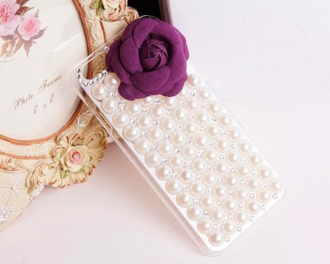 3D Rose Pearl Series iPhone 6 Crystal Case - Dark Purple