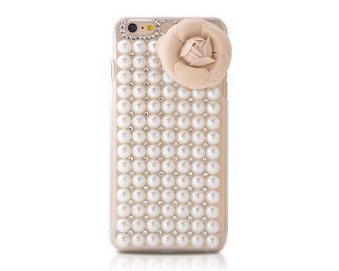 3D Rose Pearl Series iPhone 6 Crystal Case - Beige