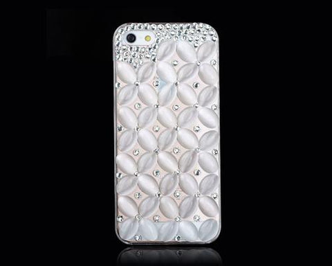 3D Flower Series Bling iPhone 6 and 6S Crystal Case - White