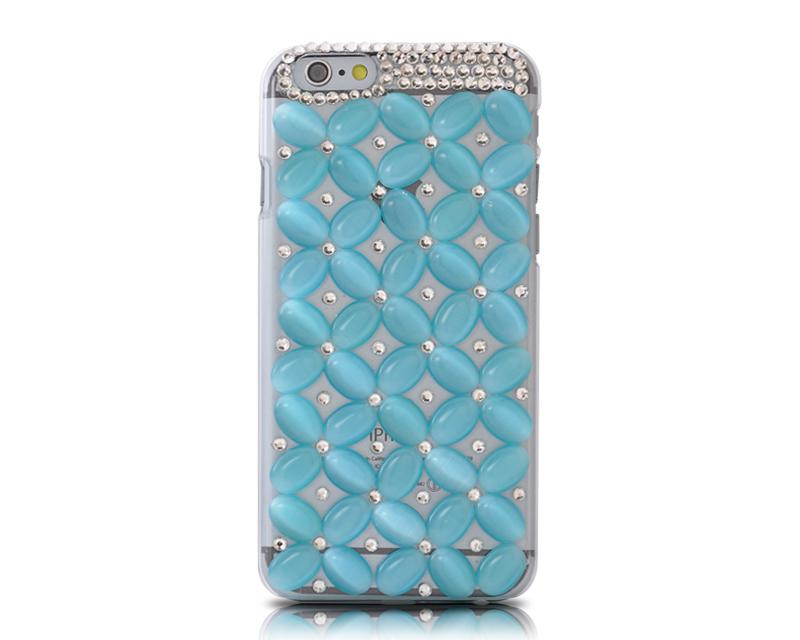 3D Flower Series Bling iPhone 6 and 6S Crystal Case - Ice Blue