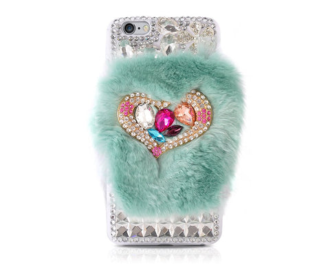 Furry Series Bling iPhone 6 Crystal Case (4.7 inches) - Turquoise