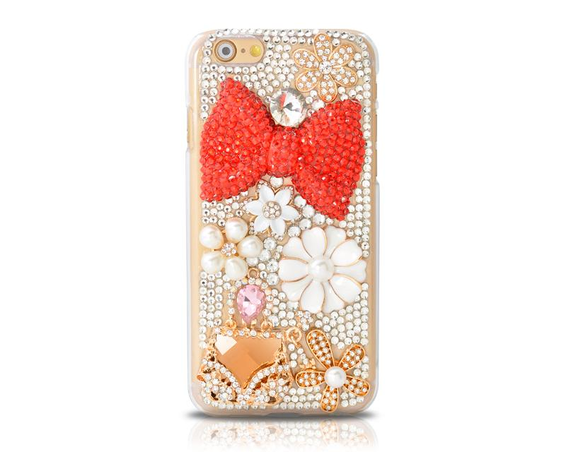 Rainbow Rhinestone Series iPhone 6 Crystal Case - Red Bow