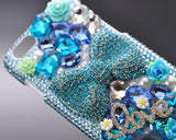 Rainbow Rhinestone Series iPhone 6 Crystal Case - Blue Bow