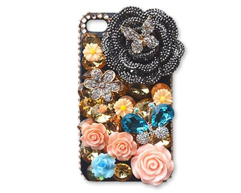 Rainbow Rhinestone Series iPhone 6 and 6S Crystal Case - Turquoise Butterfly
