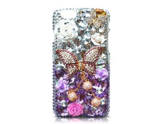 Rainbow Rhinestone Series iPhone 6 and 6S Crystal Case - Purple Butterfly
