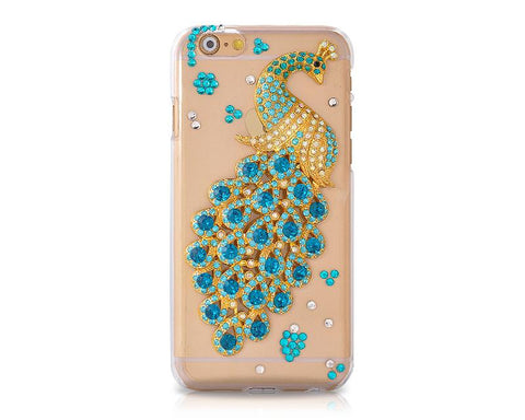 Peacock Series Crystal Phone Case - Blue