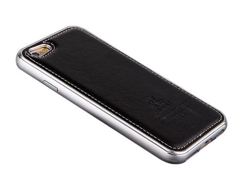 Seam Series iPhone 6 Genuine Leather Case (4.7 inches) - Black + Silver