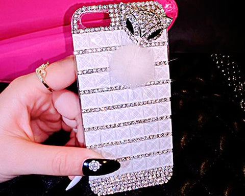 Luxury Diamond Series Bling iPhone 6 Plus Crystal Case - White