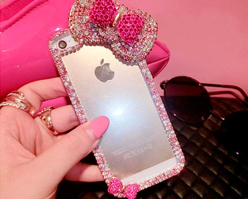Chic Bow Series Bling iPhone 6 Plus and 6S Plus Crystal Case - Pink 2