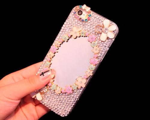 3D Flower Series Bling iPhone 6 Plus Crystal Case (5.5 inches) -Mirror