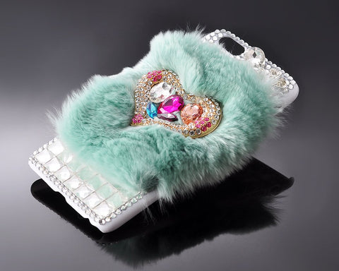 Furry Series Bling iPhone 6 Plus Crystal Case (5.5 inches) - Turquoise
