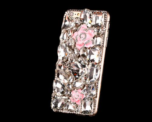 3D Rhinestone Series iPhone 6 Plus and 6S Plus Crystal Case - Flower