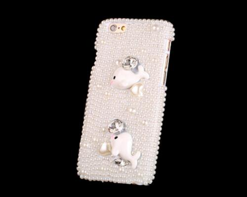 3D Rhinestone Series iPhone 6 Plus Pearl Case (5.5 inches) - Dolphins