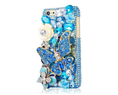 Rainbow Rhinestone Series iPhone 6 Plus Crystal Case - Blue Butterfly