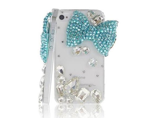 Rainbow Rhinestone Series iPhone 6 Plus and 6S Plus Crystal Case - Blue Ribbon