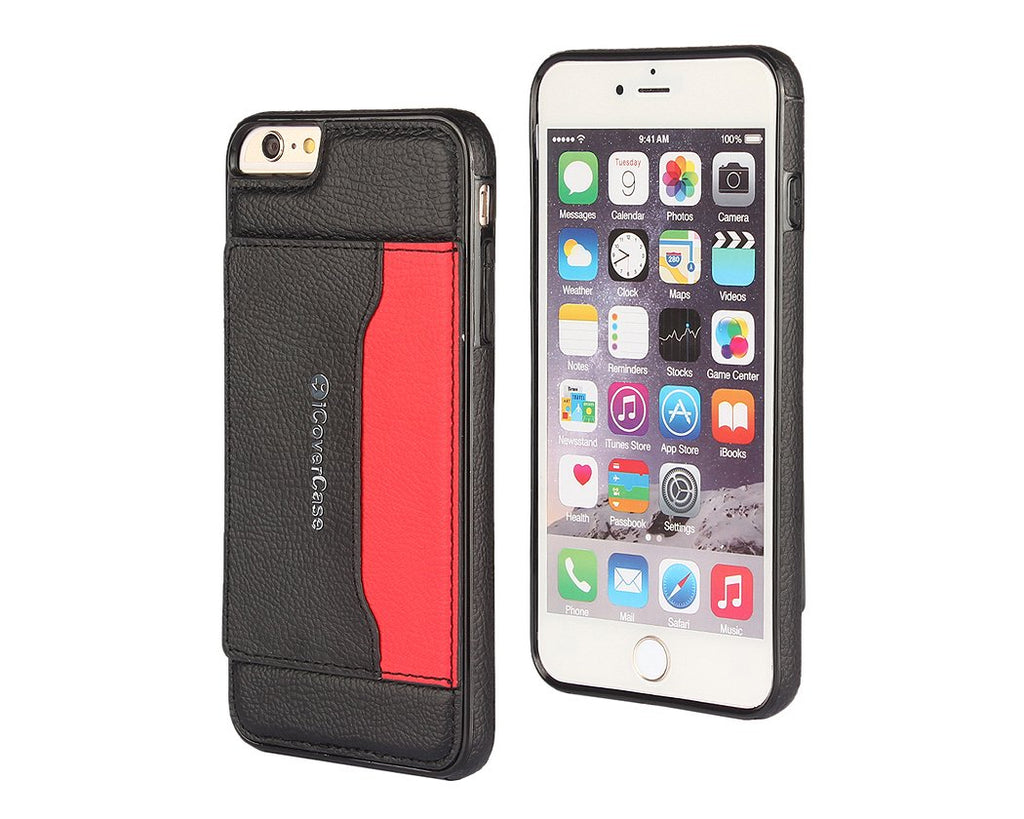 Card Slot Series iPhone 6 Plus and 6S Plus Leather Case - Black