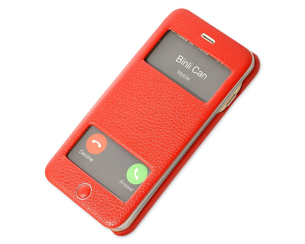 Eyelet Series iPhone 6S Plus Flip Genuine Leather Case - Red