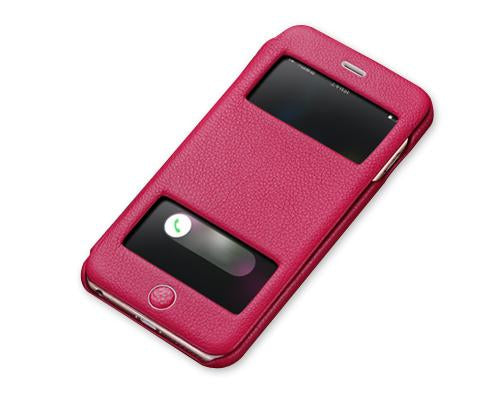 Eyelet Series iPhone 6S Plus Flip Genuine Leather Case - Magenta