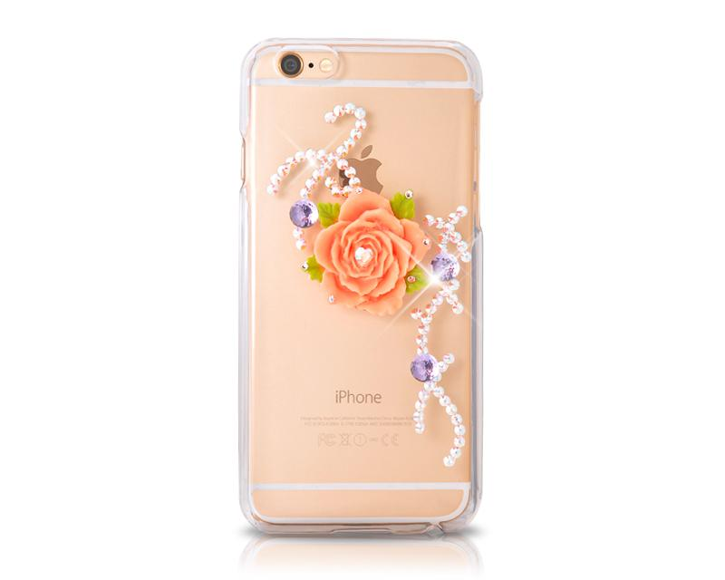 Floral Heart Bling Swarovski Crystal Phone Cases - Transparent