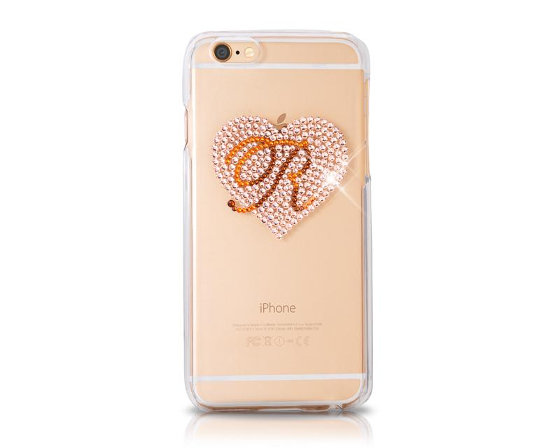 Personalized Heart Bling Swarovski Crystal Phone Cases - Transparent