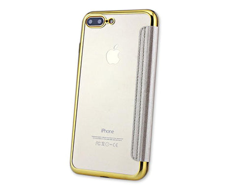 Fold Series iPhone 7 Silicone Case with Leather Cover - Gold