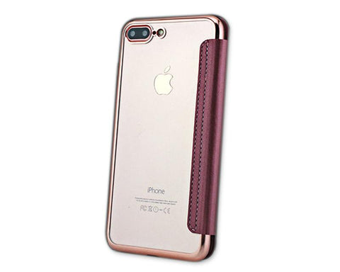 Fold Series iPhone 7 Silicone Case with Leather Cover - Rose Gold