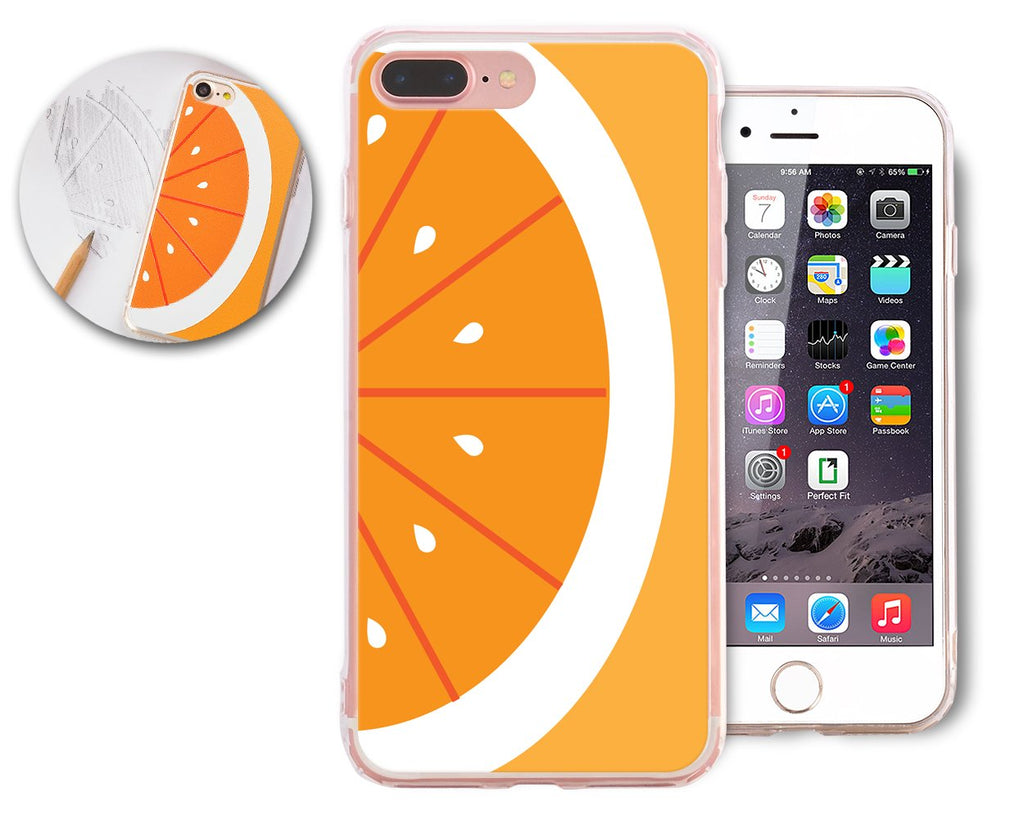 Fruit Series TPU and PC Clear Hard iPhone 7 Plus Case - Orange