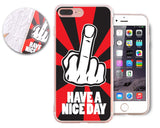 Middle Finger Series TPU and PC Clear Hard iPhone 7 Plus Case - Red