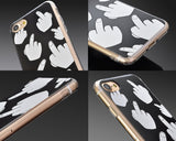 Middle Finger Series TPU and PC Clear Hard iPhone 7 Plus Case - Black