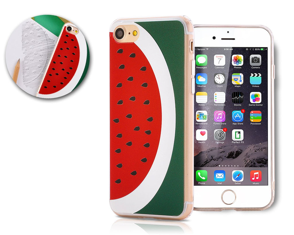 Fruit Series TPU Bumper and PC Clear Hard iPhone 7 Case - Watermelon