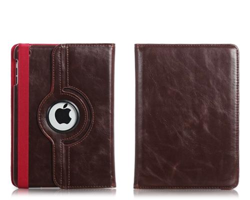 Rotating Series iPad Mini Flip Leather Case - Brown