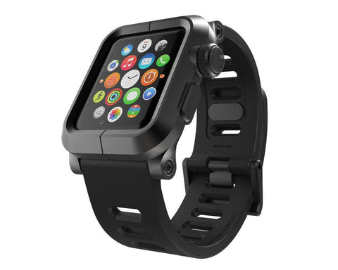 38mm Apple Watch Aluminum Case with Black Silicone Band - Black