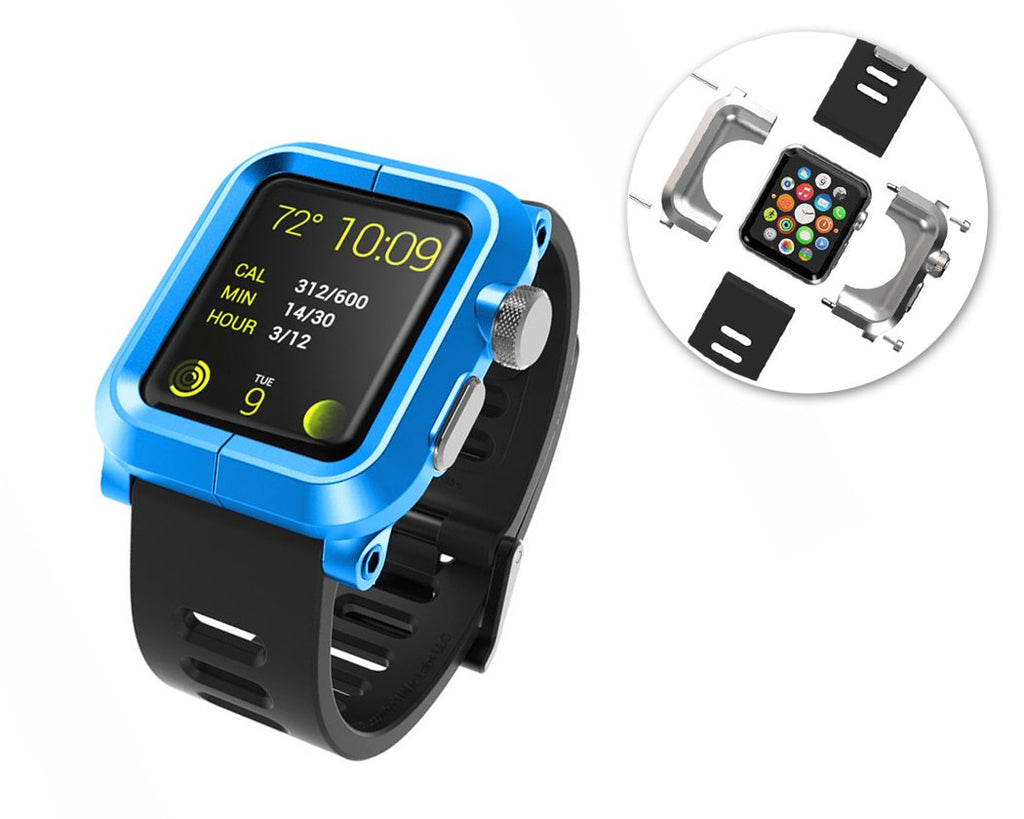 38mm Apple Watch Aluminum Case with Black Silicone Band - Blue