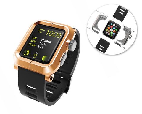 38mm Apple Watch Aluminum Case with Black Silicone Band - Gold
