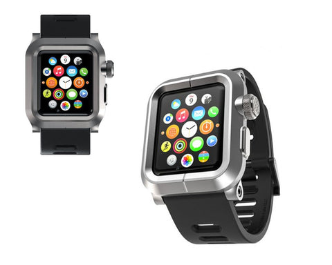 38mm Apple Watch Aluminum Case with Black Silicone Band - Silver