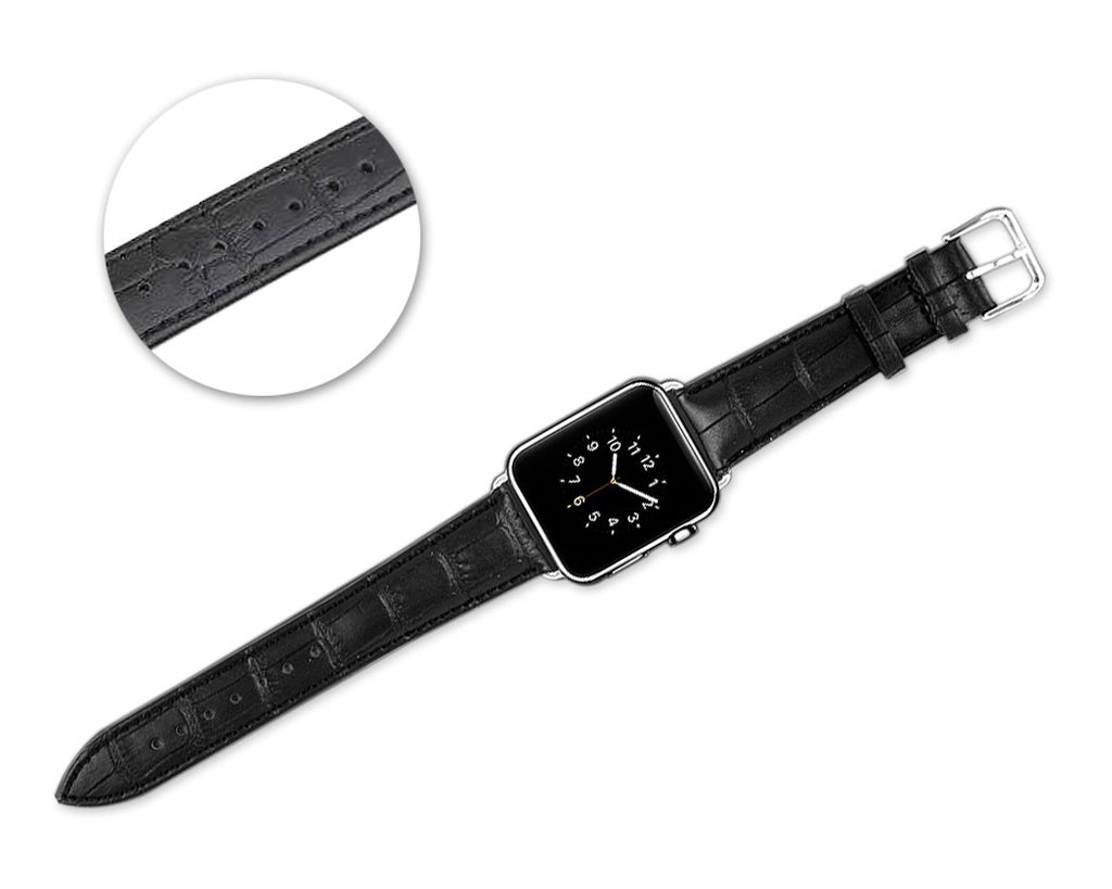 Crocodile 42mm Replacement Leather Watch Band for Apple Watch