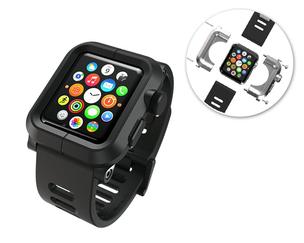 42mm Apple Watch Aluminum Case with Black Silicone Band - Black